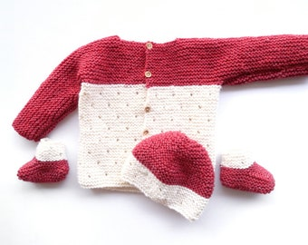 Strawberry Seed baby set includes: knit baby blanket pattern, knit hat pattern, baby booties pattern and baby cardigan pattern PDF