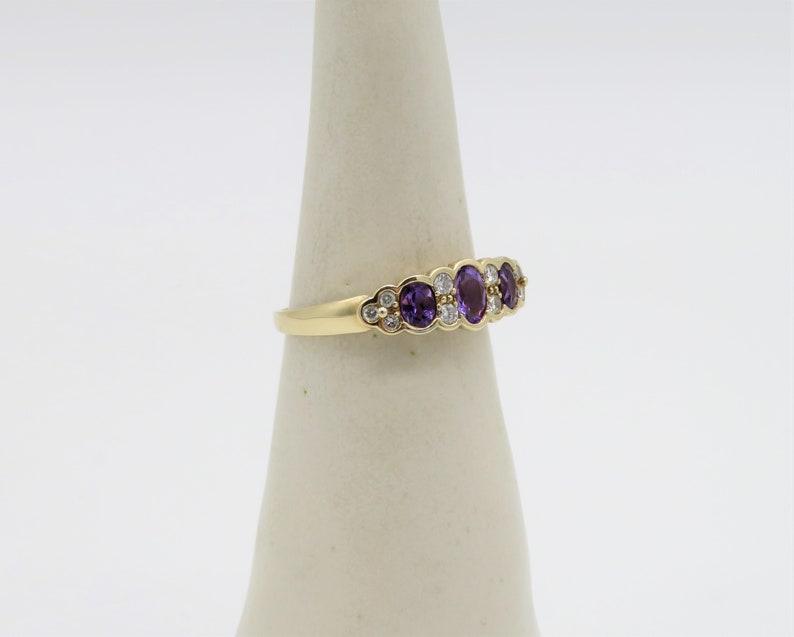 Stunning 9ct Gold Amethyst /& Diamond ring 1970s