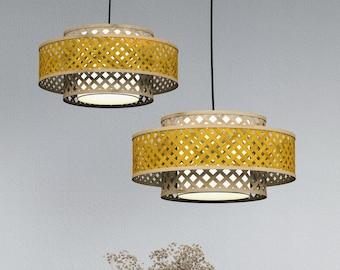 MIANZI OPIUM Bamboo Wicker Pendant Lamp Light Handmade