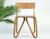 MIANZI BUTTERFLY Bamboo Chair Bohemian Minimal Handmade Strong Sleek Coffee and Dining Chair for Adults Living Room Bar Chair Bedroom Office
