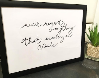 Never regret quote   Etsy