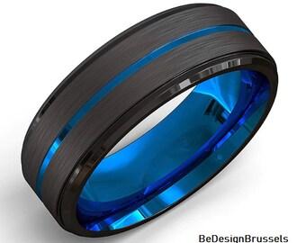 8mm Men/'s Anniversary Ring 0.07ct Topaz Ring Black IP Brushed Finish /& Beveled Edge Cobalt Wedding Band CT414 November Birthstone Ring