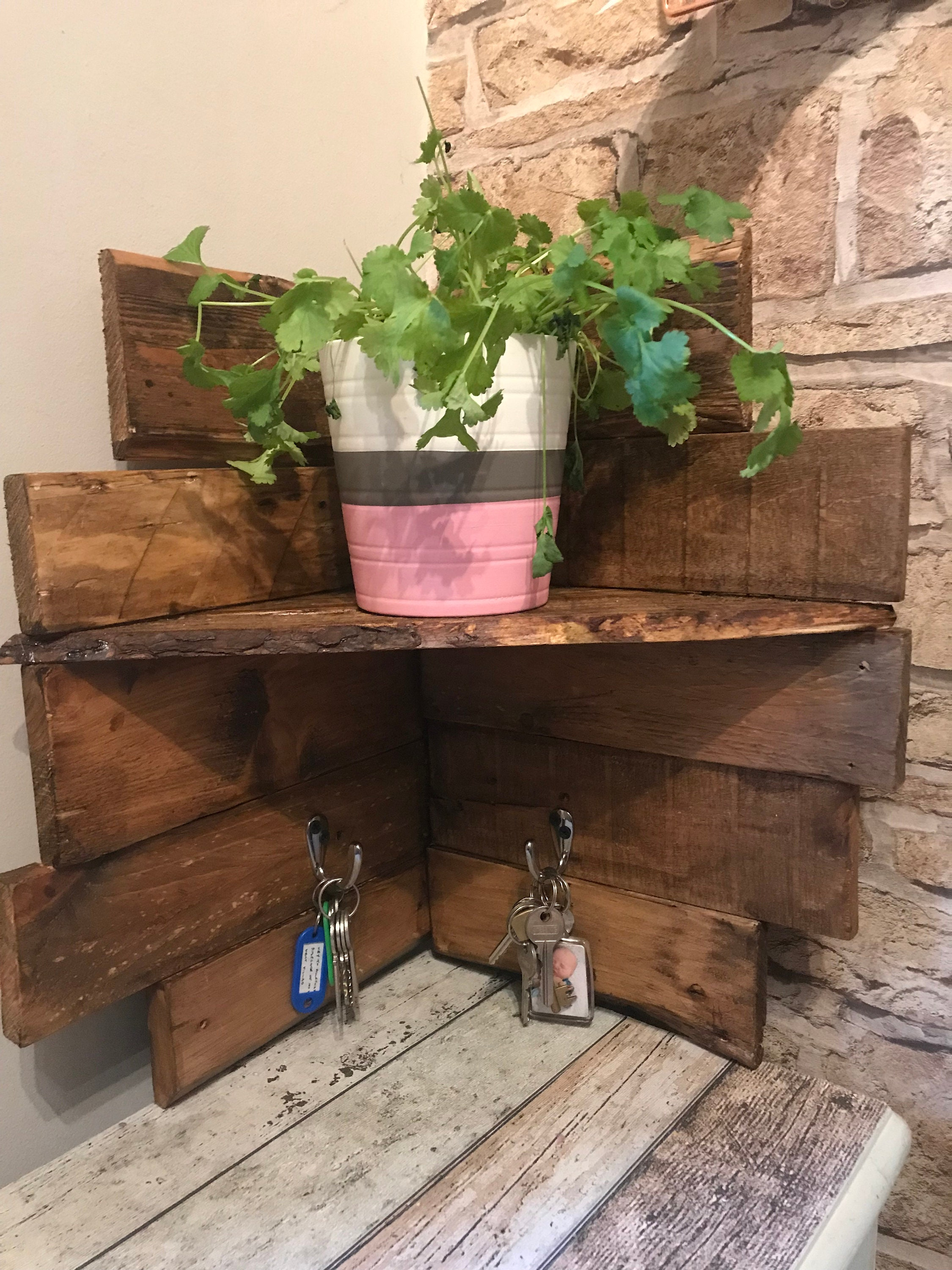 Handmade From Reclaimed Palletwood Corner Shelving Unit With Etsy