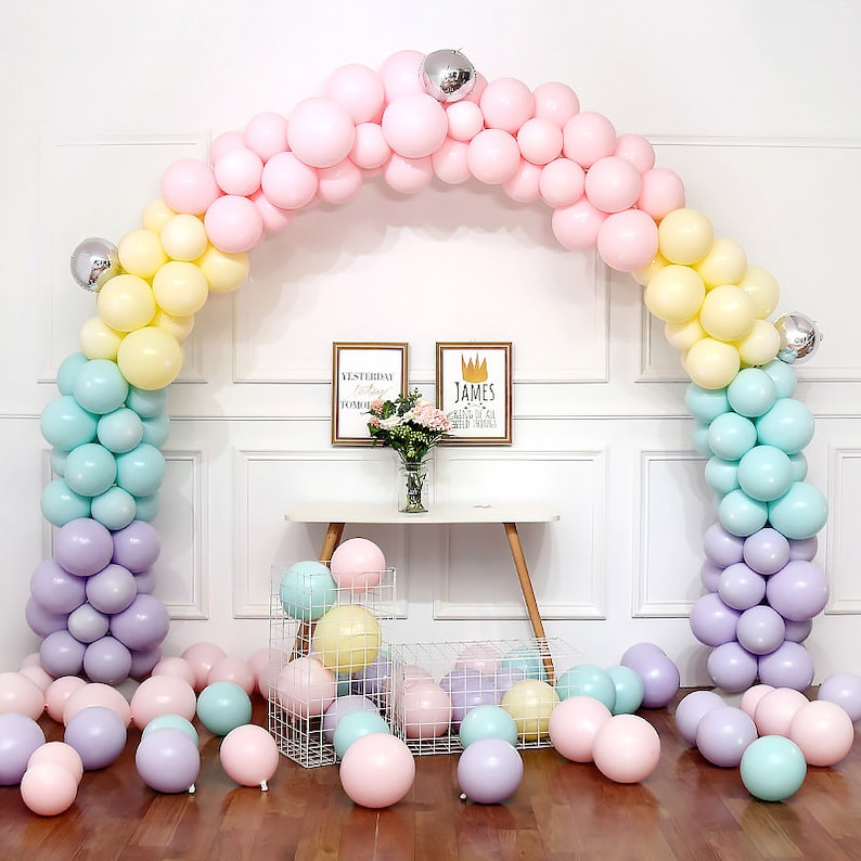 8x10ft Balloon Arc Garland Kit with Base Macaron Pastel Latex Balloons for Wedding Birthday Anniversary  Party Decorations