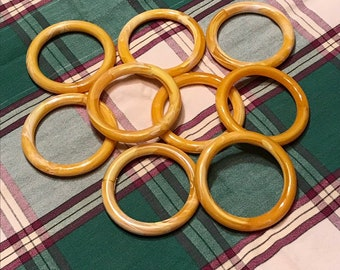 "Lot of 12 Brown Plastic Wood Grain 1-3//4/"" Round Macrame Plant Hanger Craft Rings"