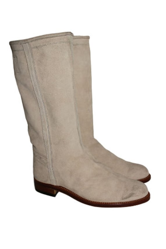 1990's Chunky Cowboy Style Suede Boots