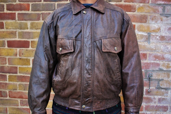 1980's Nico Mens Leather Bomber Jacket