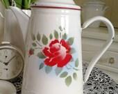 White enamel coffee pot with flower décor