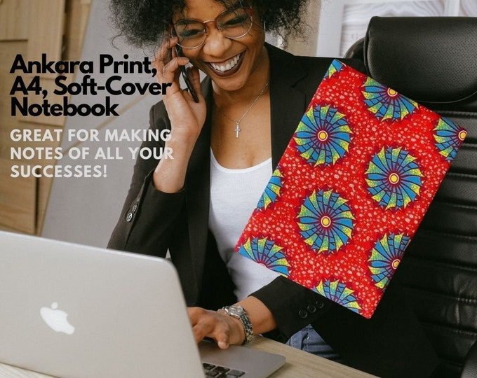 Ankara Print Softcover NoteBook, A4 White Lined paper. Great for occasional gifts for members of your team!