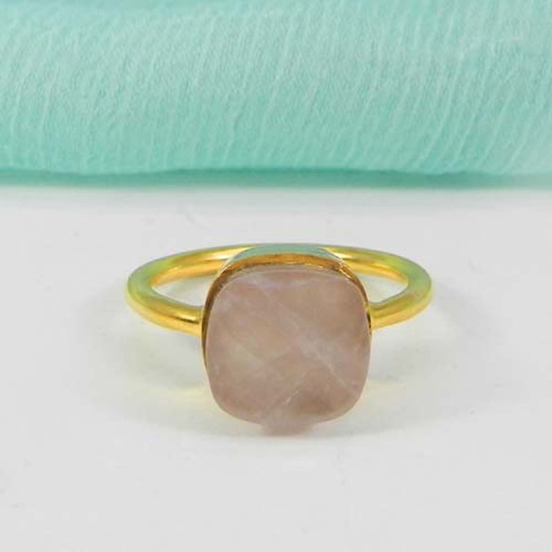 Choose Your Color Gemstone Gold Plated Brass Cushion Ring-Checker Cut Gemstone Ring-Bezel set-Stackable Ring-Women/'s Jewelry-Engagement Ring
