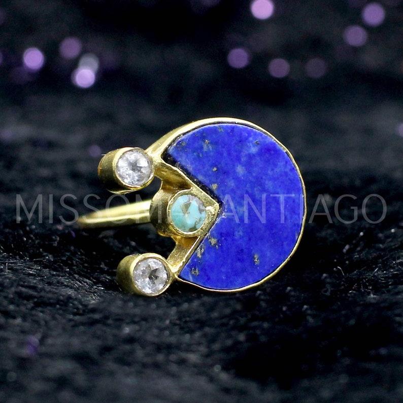 Turquoise Ring Gemstone Ring Handmade Gold Plated Brass Ring Designer Ring Statement Ring Zirconia Ring Boho Ring Lapis Lazuli Ring