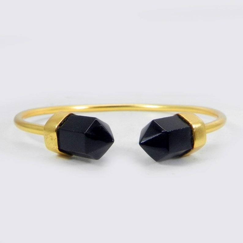 Black Onyx Pencil Shape Gemstone Gold Handmade Adjustable Bezel Cuff Bracelet