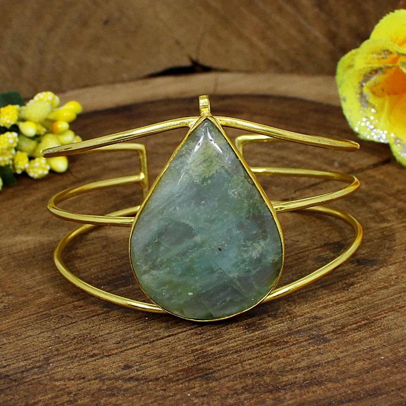 Natural Milky Aquamarine Bangle Pear Gemstone Cuff Adjustable Bangle Bracelet Anniversary Gifts Gold Plated Brass Indian Bangle Jewelry