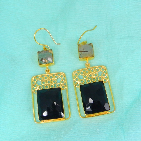 18k Gold Plated Quartz Green Apatite Earrings Jewelry Gold Plated Gift For Her Sterling Silver Earrings Gemstone Earrings