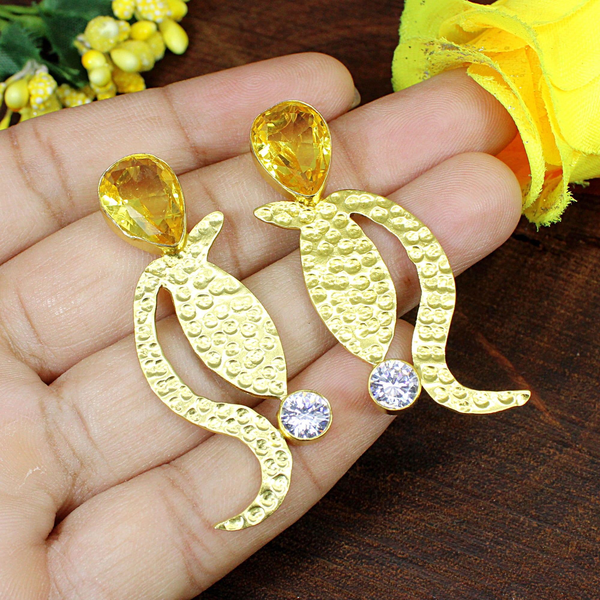 14K Gold Plated Lightweight Long Earrings Mother of Pearl Dangle /& Drop Citrine Earrings Wedding Earrings Gift for Her