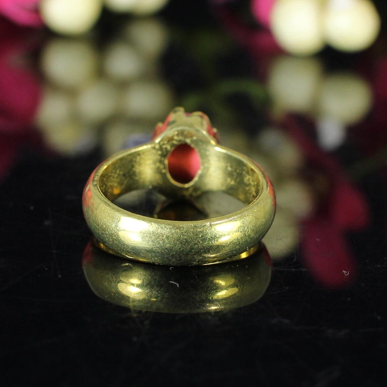 Birthday Gifts Bohemian Ring Promise Ring Gemstone Ring Synthetic Red Coral Ring Gold Plated Brass Unique Ring Victorian Ring