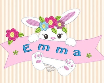 Application bunny with desired name, embroidery file, embroidery design, machine embroidery design, digital file in two sizes