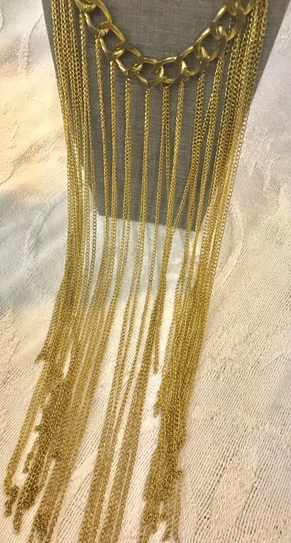 Vintage Long Gold Chain Statement Necklace, Vinta… - image 5