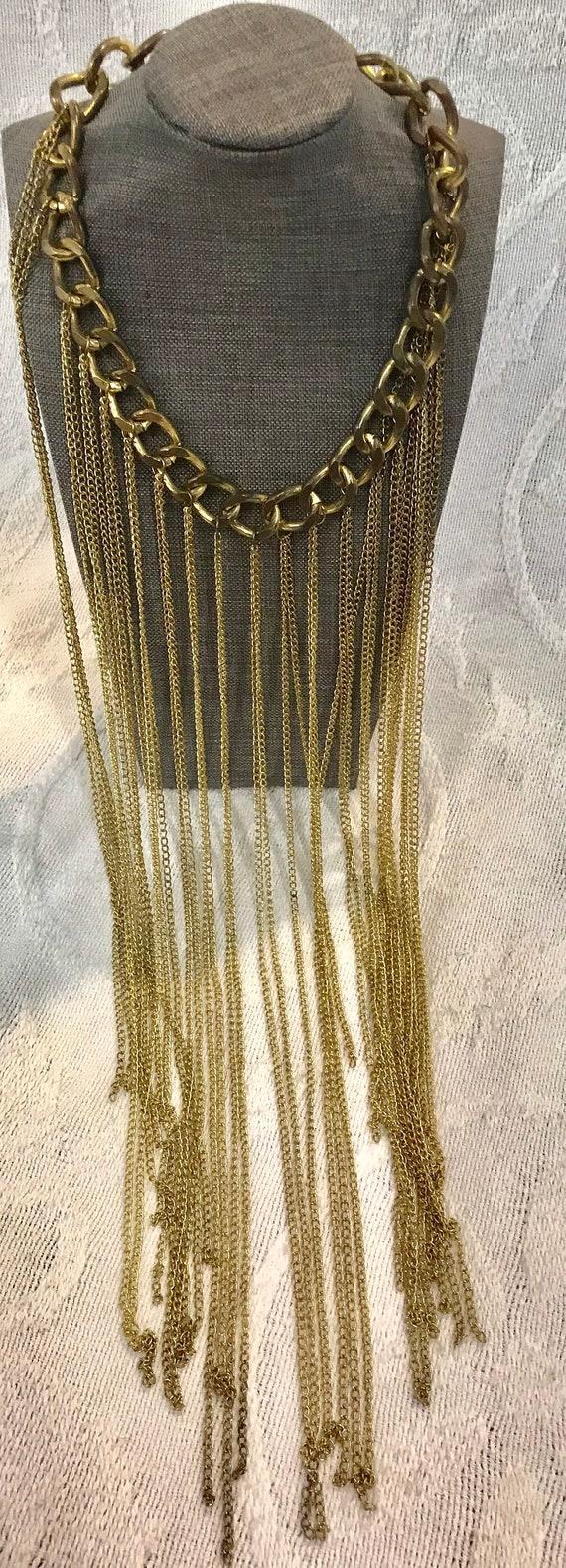 Vintage Long Gold Chain Statement Necklace, Vinta… - image 1