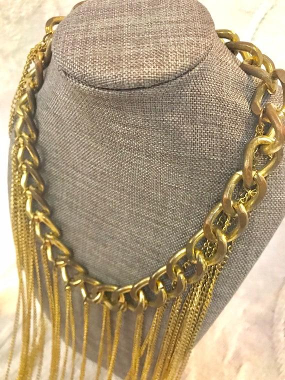 Vintage Long Gold Chain Statement Necklace, Vinta… - image 6