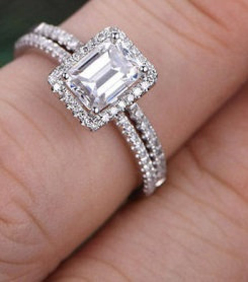 Personalized Gift Engagement Ring Bridal Ring Set 1.9Ct Emerald Cut Diamond Ring Sterling Silver Ring Set Wedding Ring Engagement Gift