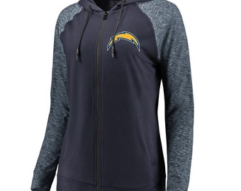 00eca658c Women s Los Angeles Chargers NFL Pro Line by Fanatics Branded Navy Heathered  Blue Made to Move Color Blast Full-Zip Raglan Hoodie