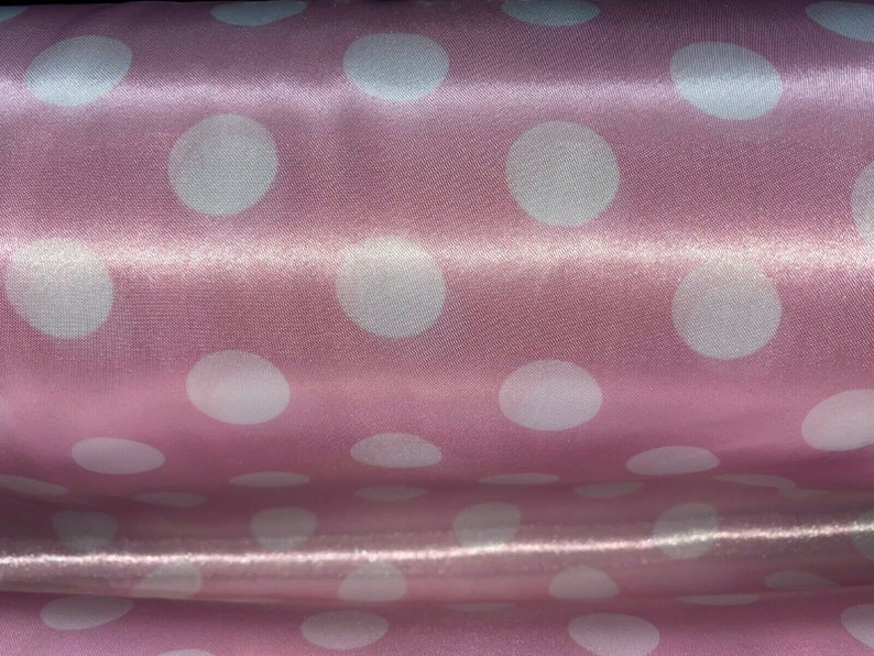 Polka Dot Tablecloth Drapery Apparel Fabric Printed Charmeuse Satin 60 100/% Polyester Sold By The Yard