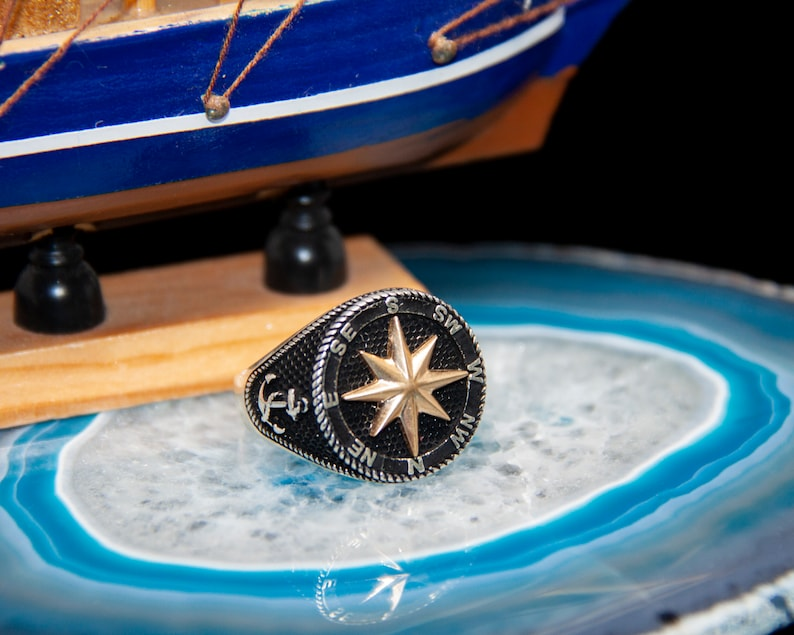 Compass Ring Anchor Ring Cool Rings Star Ring 925 Sterling Silver Black Ring Thumb Rings For Women Mens Rings Cute Ring Big Rings