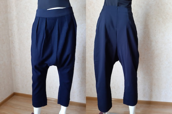 Vintage Blue Wool Baggy Fit Harem And Less Pants W
