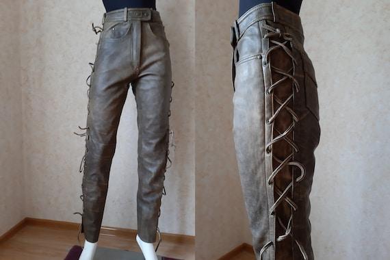 Vintage 80's Leather Cowboy Western Pants Unisex B