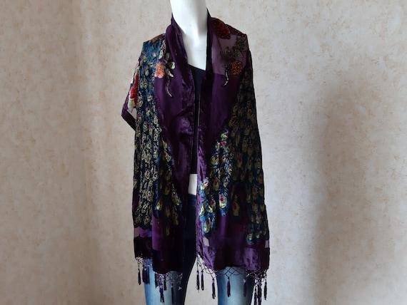 Vintage Velvet scarf. Unisex Scarf. Violet Scarf.