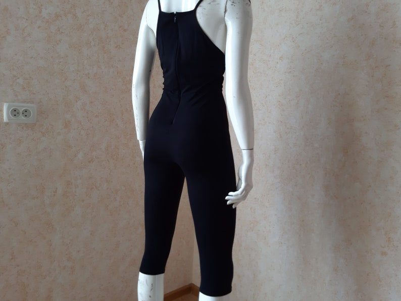 yoga jumpsuit Vintage youth fitted viscose capri jumpsuit Missguided UK overall Size SM black jumpsuit overall casual jumpsuit all in one