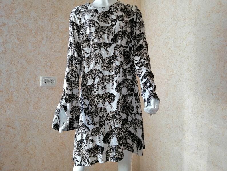 Vintage Dress Leopard Print Long Sleeve Dress  Size XL Flirty Everyday Summer Dress Fashion dress Occasion dress Everyday dress