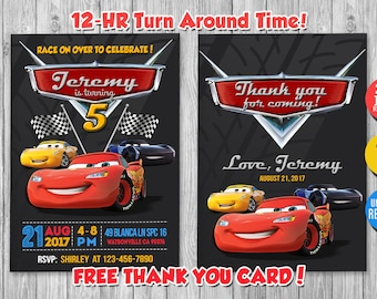 Disney Cars Birthday Invitation With FREE Thank You Card Lightning Mcqueen Mater