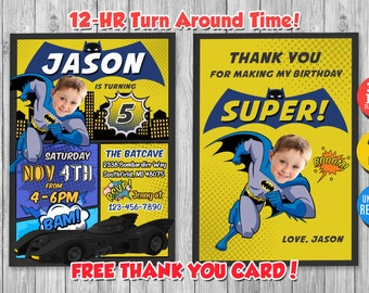 Batman Invitation With Custom Face And FREE Thank You Card Invite Birthday Party Printable
