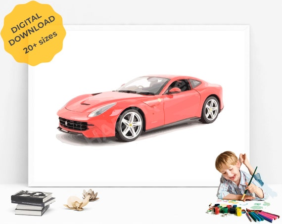Sports Car Print, Classic Sports Car, Race Car Wall Art, Car Decor,  Transportation Wall Art, Automobile Art, Car Printable, Boy Bedroom Art