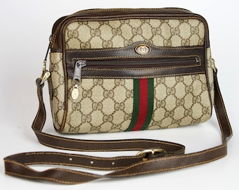 ace1cbc9d Vintage Gucci Ophidia GG logo monogram coated canvas shoulder bag with  leather parts womens high fashion
