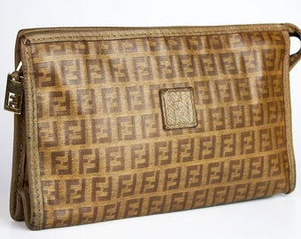 659f4676735 Vintage Fendi FF Zucca monogram coated canvas clutch cosmetic purce bag  womens high fashion
