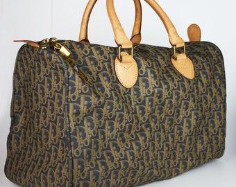 69241ef870db Original Christian Dior vintage monogram coated monogram canvas vachetta  travel bag keepall speedy style hand tote bag large 80 s - 90 s