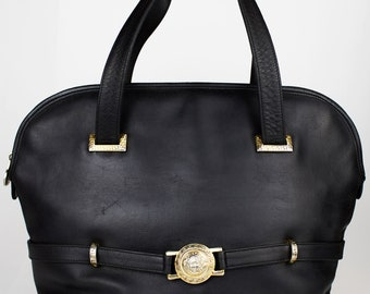 d25407f5427d Gianni Versace shoulder medusa bag in black leather