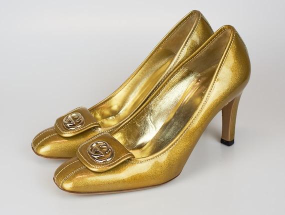 Vintage Gucci GG logo shoes sparkling gold patent