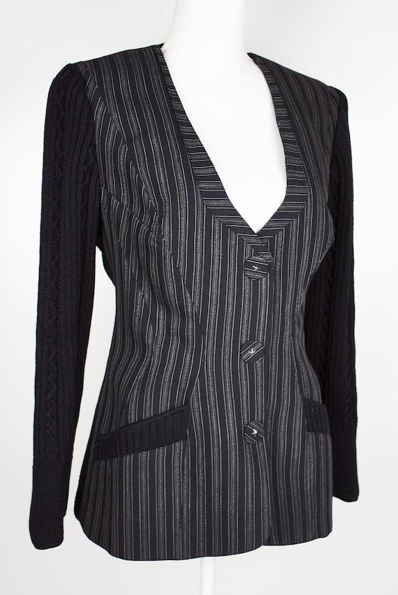 Vintage Thierry Mugler blazer 100% wool striped gr