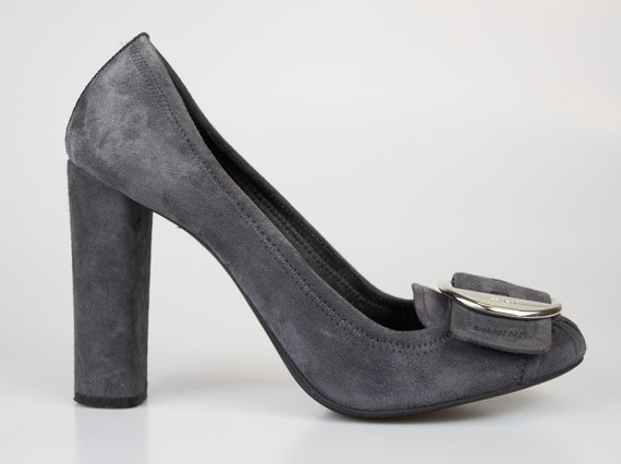 Vintage Prada shoes gray suede block heels Prada s