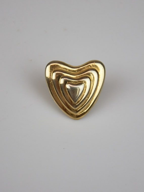Vintage Escada heart pin Escada heart brooche gold