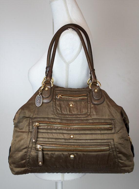 Vintage Tod's bag hobo bag brown ocra fabric canva
