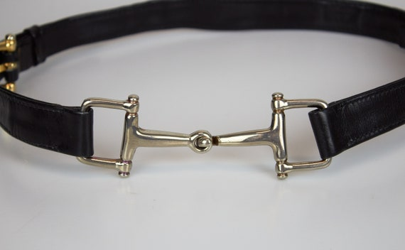 Vintage Celine horcebit belt leather black belt Ce
