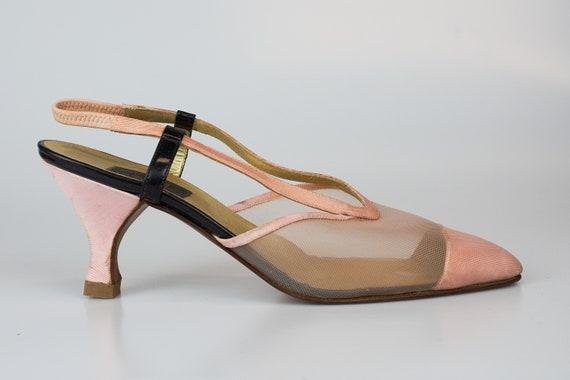 Vintage  Fendi slingback sandals pink mesh Fendi c