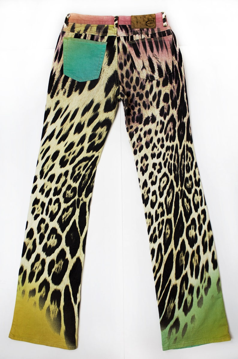 Just Cavalli leopard print pink green yellow raynbow pants sz 24 women/'s clothing fashion vintage 90/'S high fashion rave