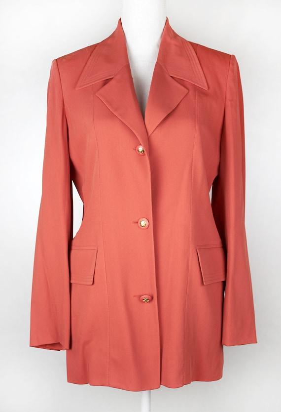 Vintage CELINE blazer vivid coral dusty salmon collor jacket coat high fashion women's clothin sz 42 IT 8 UK coral blazer Celine coat