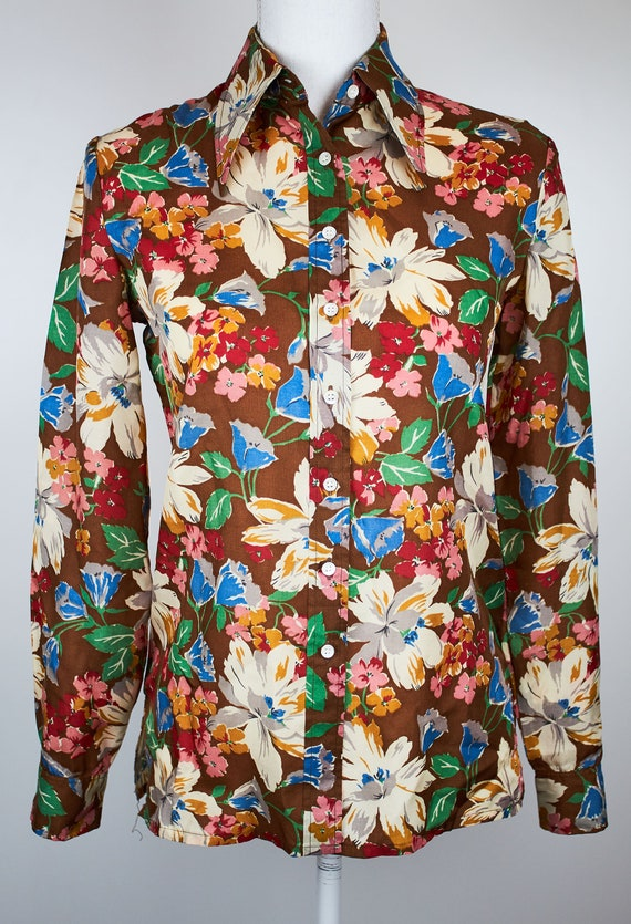 Vintage Cacharel floral blouse boho flower blouse